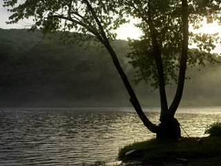 Lake with fog, Delaware, United States of America