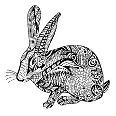 Rabbit Hand drawn sketched vector illustration. Doodle bunny graphic with ornate pattern. Design Isolated on white.
