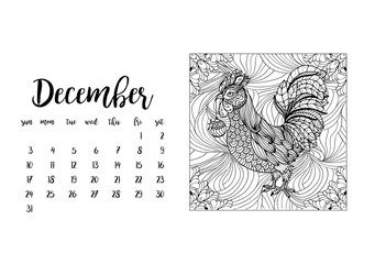 Desk calendar template for month December with doodle stylized rooster animal. Week starts Sunday