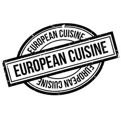 European Cuisine rubber stamp. Grunge design with dust scratches. Effects can be easily removed for a clean, crisp look. Color is easily changed.
