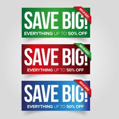 Save big - sale web banner set