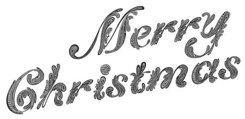 Christmas 2017. Beautiful vector letters from a variety of patterns