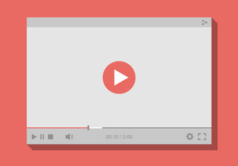video player interface, mock-up for web and mobile apps. Flat style. Vector illustration, EPS10.