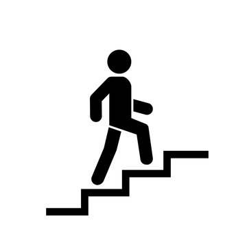 Upstairs icon sign. Walk man in the stairs. Career Symbol. flat design. Vector illustration.