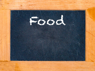 The food board with white chalk letters