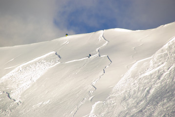 Large avalanche set by skier