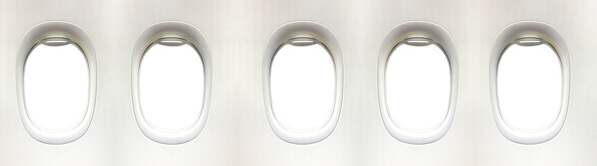 Airplane window and space for your design, 5 plane window, clipp