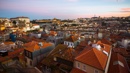 View of Porto old town at dusk, Portugal.