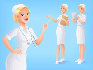 Smiling medical nurse in uniform in various poses. Vector set.