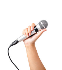 Female hand hold microphone isolated on white.