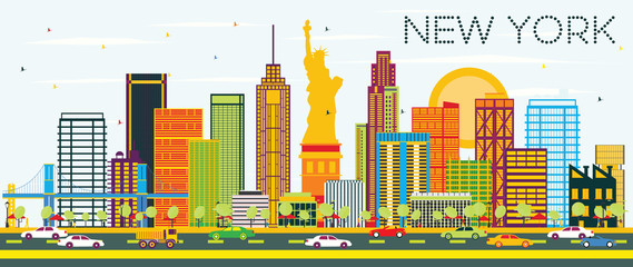 New York Skyline with Color Buildings and Blue Sky.