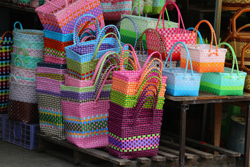Handmade basket, a container of various products.