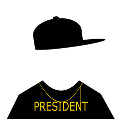man wearing hip hop fashion and president necklace
