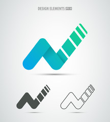 Business corporate identity letter N logo design. Colorful letter N vector template. Successful business emblem. Growth infographic