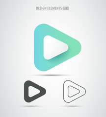 Vector abstract play icon design. Video player application logo icon design set. Line art.