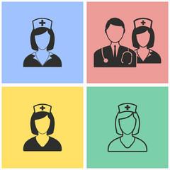 Nurse icon set.