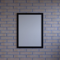 Mock up blank poster picture frame hanging on wall in room
