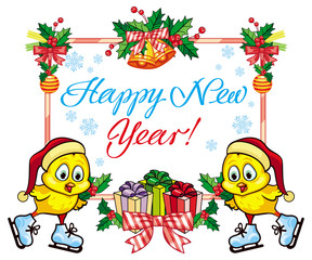 """Holiday label with cute chicken and greeting text:""""Happy New Year!"""". Copy space."""
