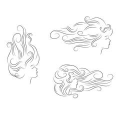 set girl hair line silhouette