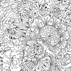 Coloring book page design with pattern. Mandala ethnic ornament. Isolated vector illustration in zentangle style.