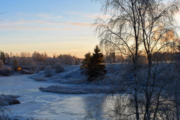 Landscape just before sunset on winter. Aura River, Finland.