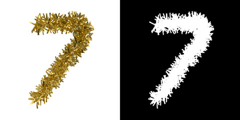 Number Seven Christmas Tinsel with Alpha Mask Channel for Clipping - 3D Illustration