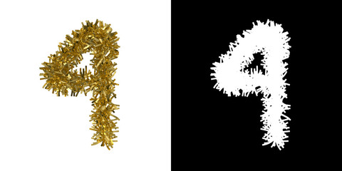 Number Four Christmas Tinsel with Alpha Mask Channel for Clipping - 3D Illustration