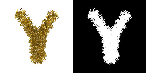Letter Y Christmas Tinsel with Alpha Mask Channel for Clipping - 3D Illustration