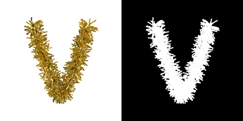 Letter V Christmas Tinsel with Alpha Mask Channel for Clipping - 3D Illustration