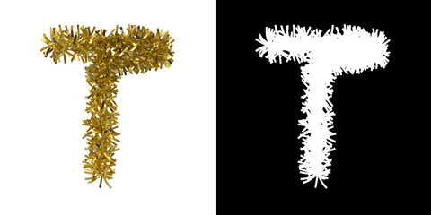 Letter T Christmas Tinsel with Alpha Mask Channel for Clipping - 3D Illustration