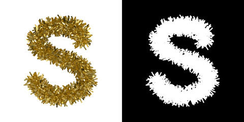 Letter S Christmas Tinsel with Alpha Mask Channel for Clipping - 3D Illustration