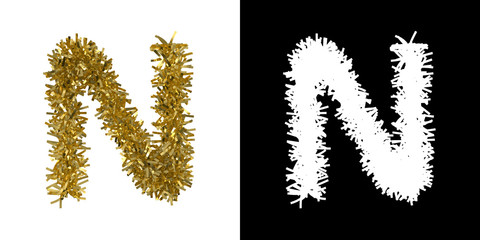 Letter N Christmas Tinsel with Alpha Mask Channel for Clipping - 3D Illustration