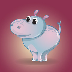 Funny little cartoon Hippo. Children's character.