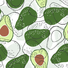 Seamless pattern with avocado. Vector food background.