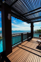 Swimming pool close beach with clean sky Samui Thailand