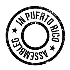 Assembled in Puerto Rico rubber stamp. Grunge design with dust scratches. Effects can be easily removed for a clean, crisp look. Color is easily changed.