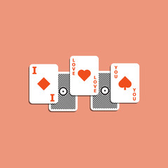 vector illustration of playing card and love concept