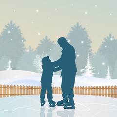 father and son skating on ice