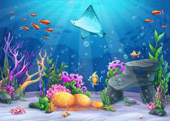 Vector cartoon illustration undersea