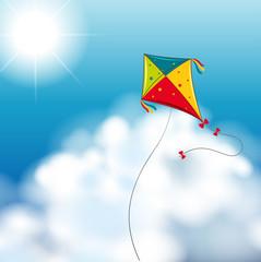 Background scene with kite in the sky