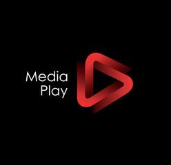 3D media play logo design.