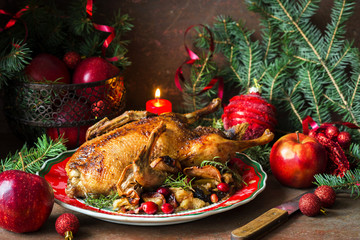 Roasted duck with apples dedorated for Christmas or New Year