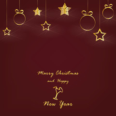 marry christmas and happy new year - vector xmas background (red)