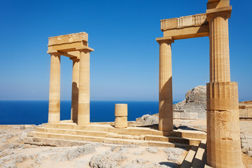 Lindos Acropolis ruins with columns and portico