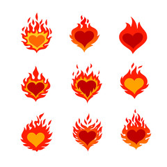 fired heart icons set