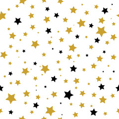 Seamless pattern with gold and black stars