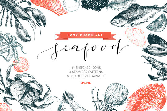 Vector hand drawn set of seafood icons. Lobster, salmon, crab, shrimp, ocotpus, squid and clams. Delicious menu objects.