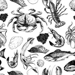 VEctor seamless pattern of seafood.Lobster, crab, salmon, caviar, squid, shrimp and clams. Hand drawn engraved icons.