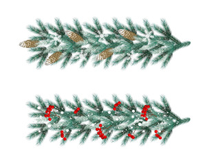 Garlands blu fir branches with frost, snowflakes, cones and red