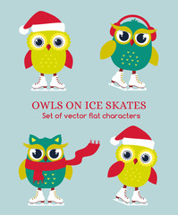 Funny owls on ice skates. Vector illustration.